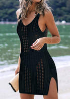Hollow Out Slit Crochet Cover Up - Black
