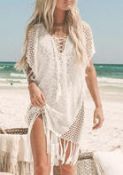Hollow Out Tassel Criss-Cross V-Neck Cover Up - Apricot