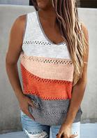 Color Block Hollow Out Knitted Tank
