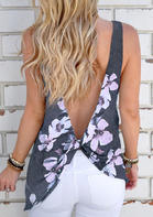 Floral Twist Open Back Casual Tank - Gray