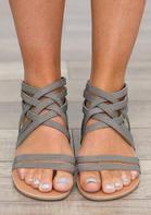 Summer Criss-Cross Zipper Flat Sandals - Gray