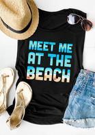 Meet Me At The Beach Casual Tank - Black