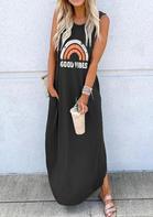 Good Vibes Rainbow Pocket Sleeveless Maxi Dress - Dark Grey