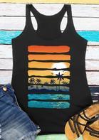 Beach Sunset Landscape Striped Casual Tank - Black