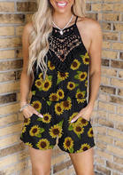Sunflower Hollow Out Lace Splicing Pocket Romper - Black