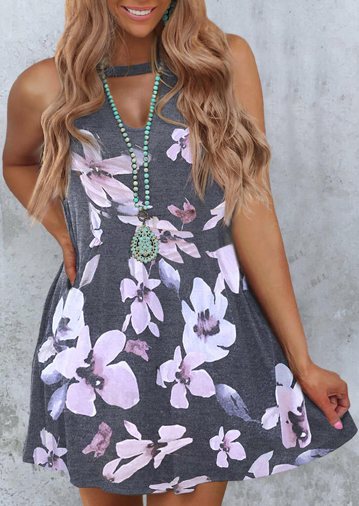 Floral Hollow Out Sleeveless Mini Dress - Gray, 498369, Fairyseason  - buy with discount