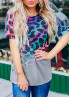 Leopard Gradient O-Neck Casual T-Shirt Tee