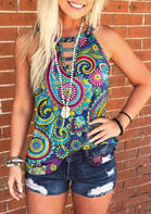 Paisley Hollow Out Halter Casual Tank