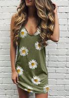 Daisy Ripped Hole Sleeveless Mini Dress - Green