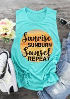 Sunrise Sunburn Sunset Repeat Tank - Cyan