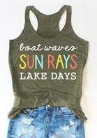 Boat Waves Sun Rays Lake Days Tank - Army Green