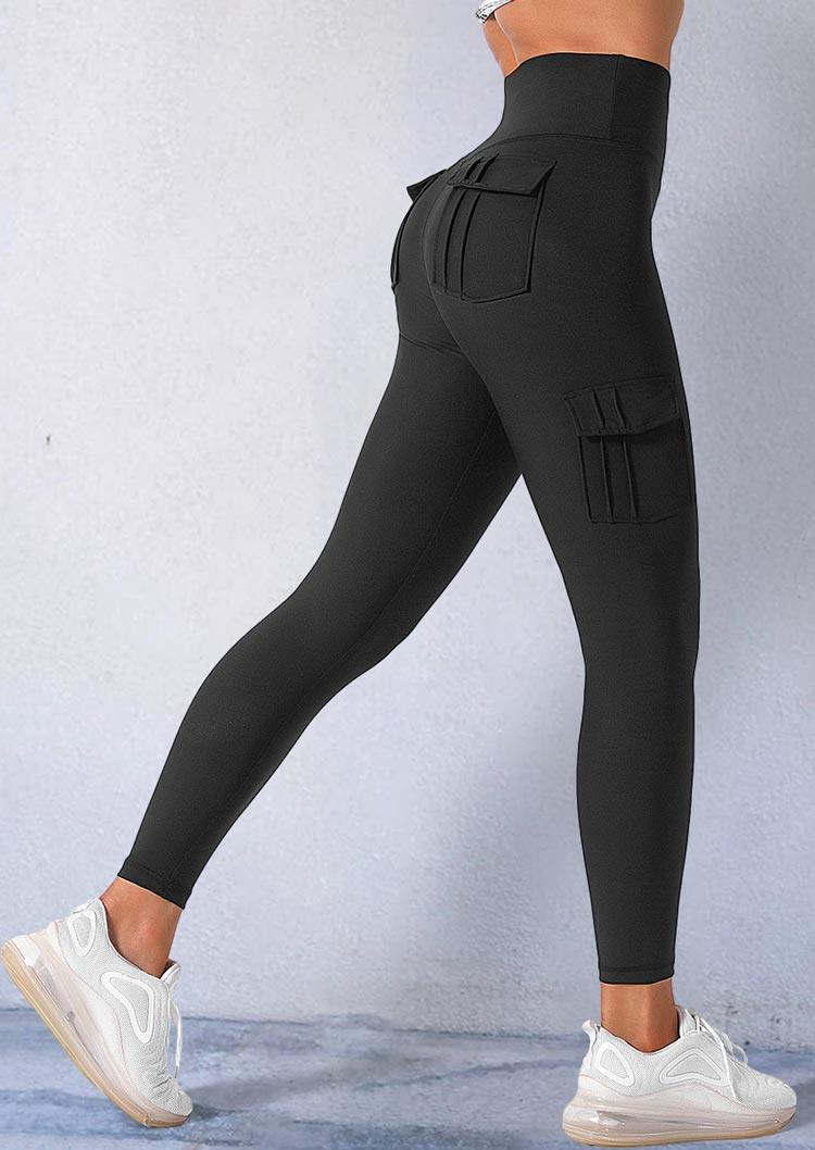 Pocket Elastic High Waist Sports Fitness Leggings - Black