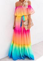 Rainbow Gradient Strapless Off Shoulder Maxi Dress
