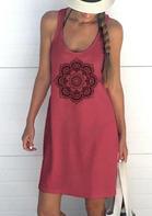 Mandala O-Neck Sleeveless Pocket Mini Dress - Watermelon Red
