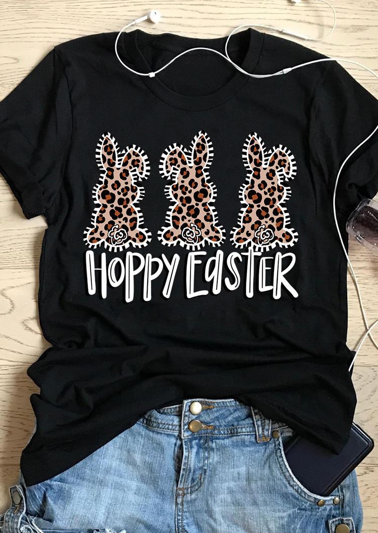 Leopard Hoppy Easter Graphic T-Shirt Tee - Black
