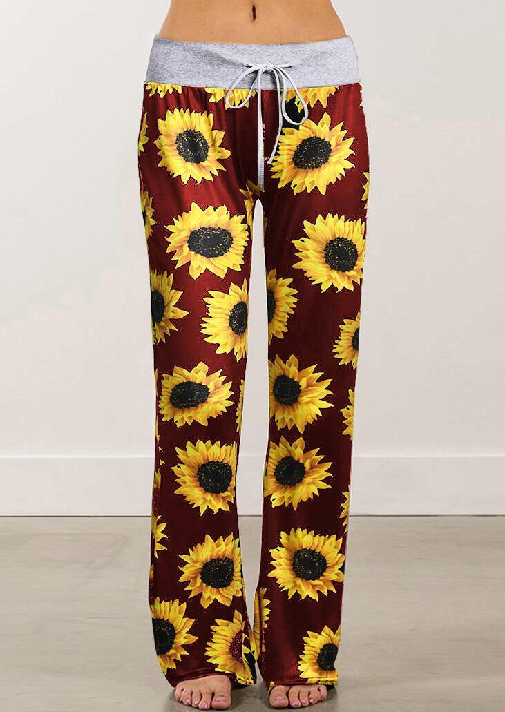 Sunflower Drawstring Wide Leg Pants - Black