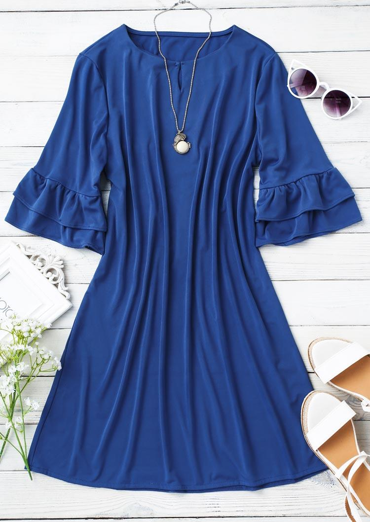 Hollow Out Ruffled Layered Mini Dress - Blue