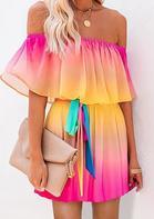 Colorful Gradient Off Shoulder Layered Mini Dress