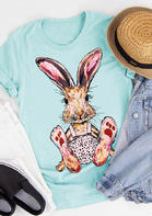 Easter Day Bunny O-Neck T-Shirt Tee - Cyan
