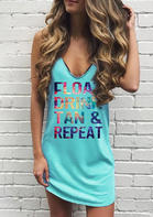 Tie Dye Float Drink Tan & Repeat Mini Dress - Cyan