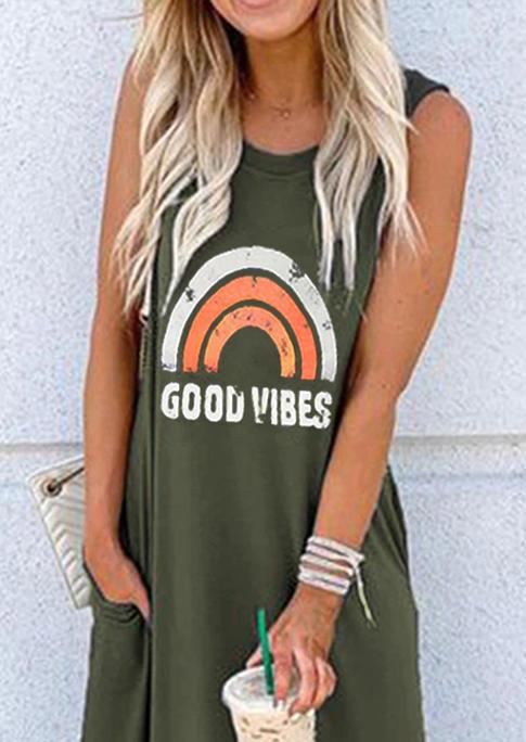 Good Vibes Rainbow Pocket Sleeveless Maxi Dress - Army Green
