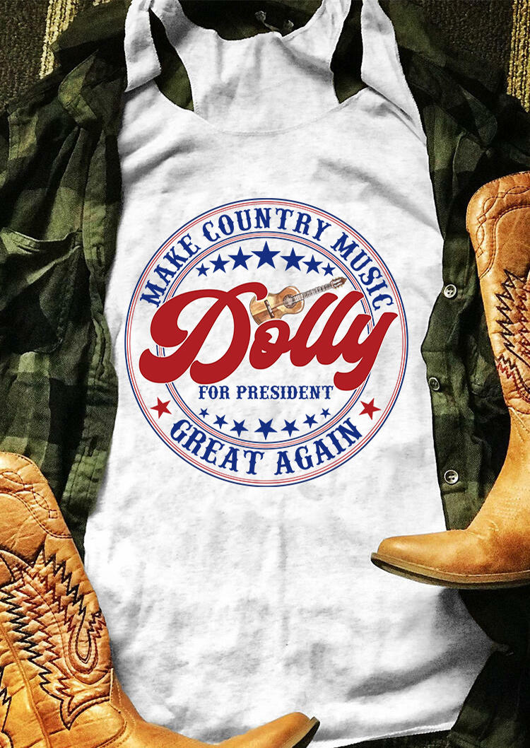Make Country Music Great Again Dolly Star Tank - Light Grey