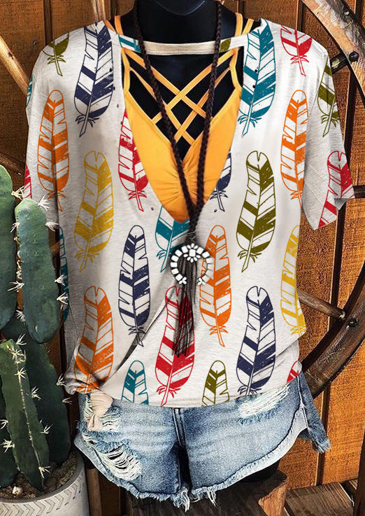Colorful Feather Hollow Out Blouse - White