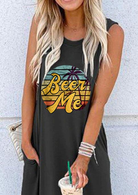 Beer Me Pocket Sleeveless Maxi Dress - Dark Grey