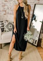 Halter Spaghetti Strap Slit Casual Dress - Black
