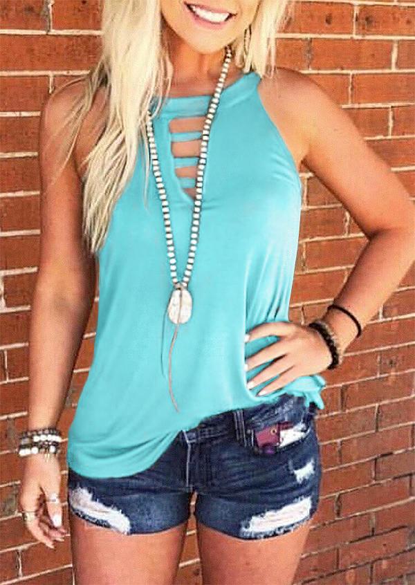 Solid Hollow Out Tank without Necklace - Black