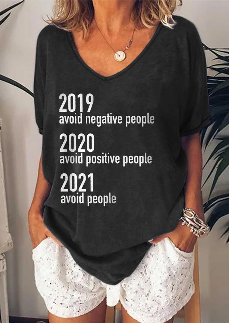 2021 Avoid People V-Neck T-Shirt Tee - Dark Grey