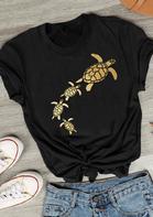 Sea Turtle T-Shirt Tee - Black