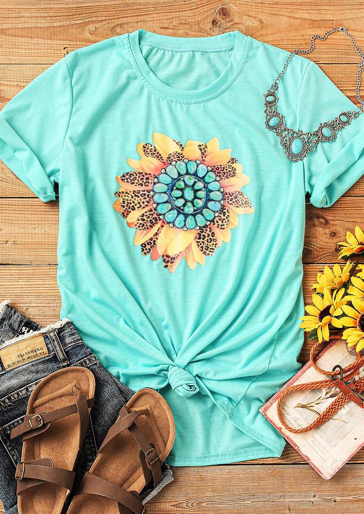 Leopard Turquoise Sunflower O-Neck T-Shirt Tee - Cyan