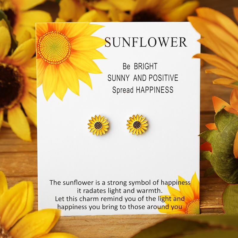 Sunflower Alloy Stud Earrings - Yellow