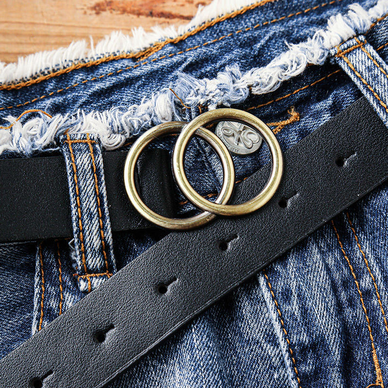 Double O-Ring Buckle Faux Leather Belt