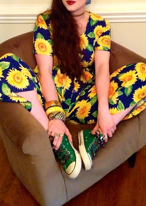 Sunflower Pocket Drawstring Elastic Waist Jumpsuit - Blue