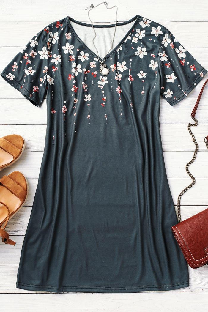 Floral Short Sleeve Mini Dress - Dark Grey