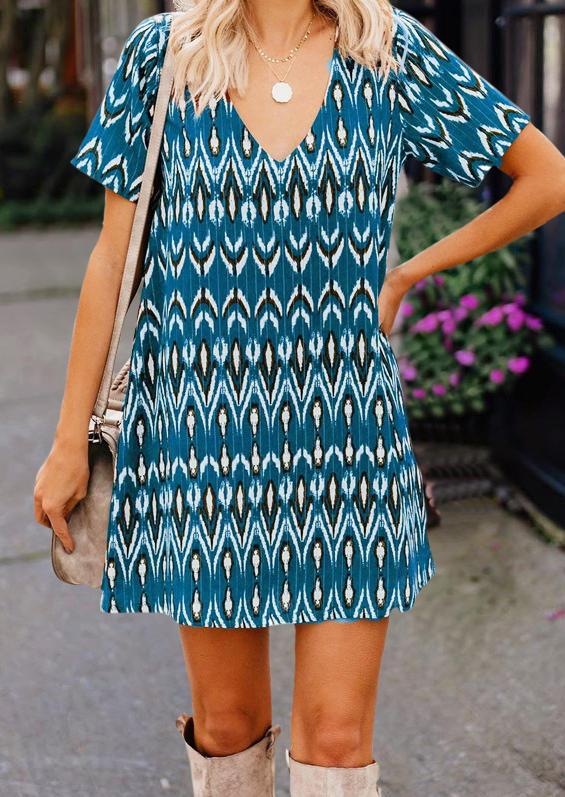 Geometric V-Neck Mini Dress - Blue