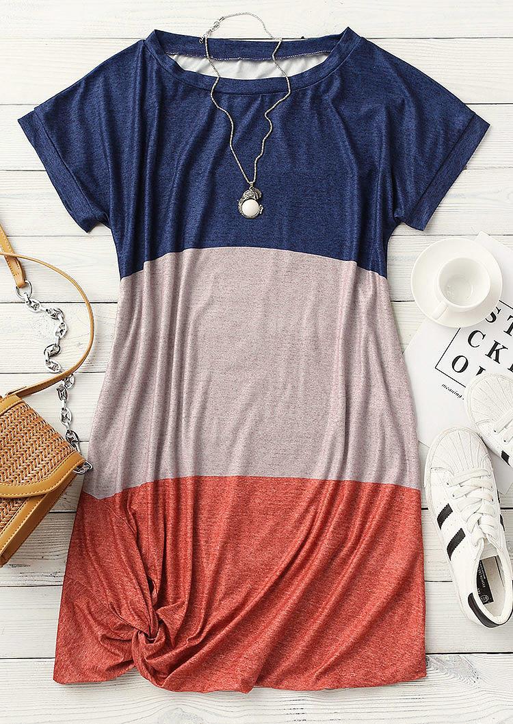 Color Block Twist Pocket Mini Dress
