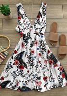 Floral Ruffled V-Neck Open Back Sleeveless Mini Dress