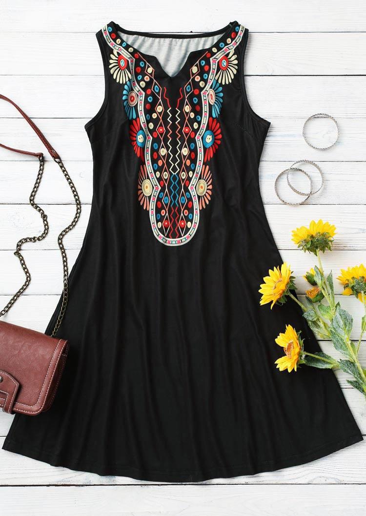Ethnic Style Floral Sleeveless Mini Dress - Black