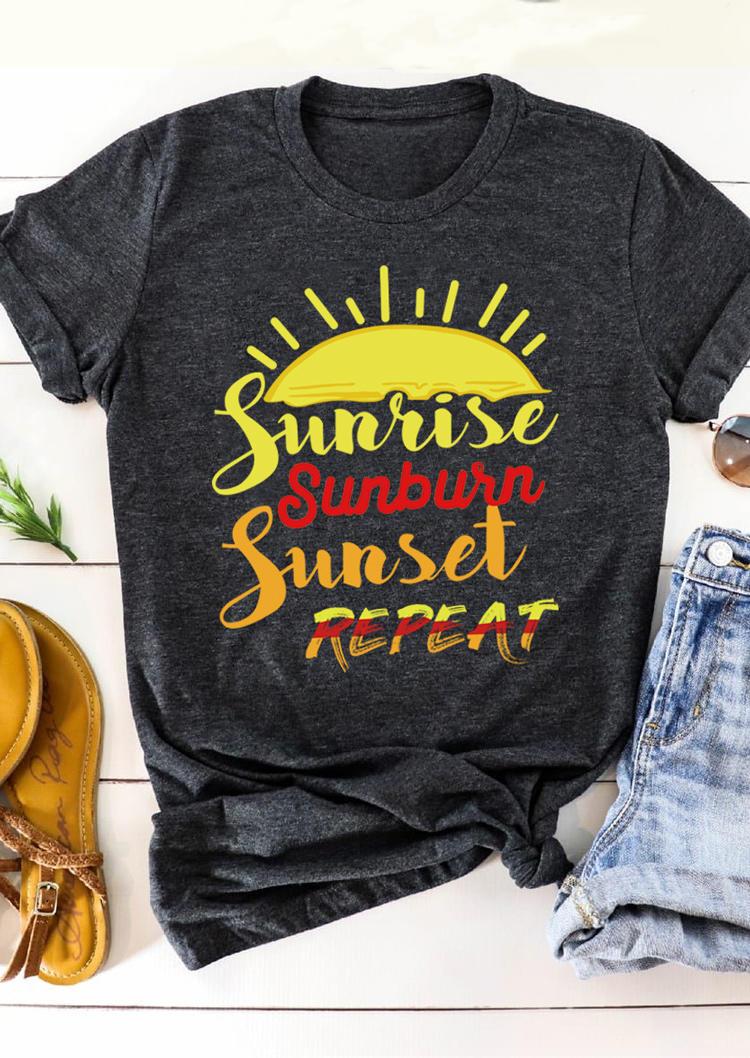 Sunrise Sunburn Sunset Repeat T-Shirt Tee - Dark Grey, 500706, Fairyseason  - buy with discount