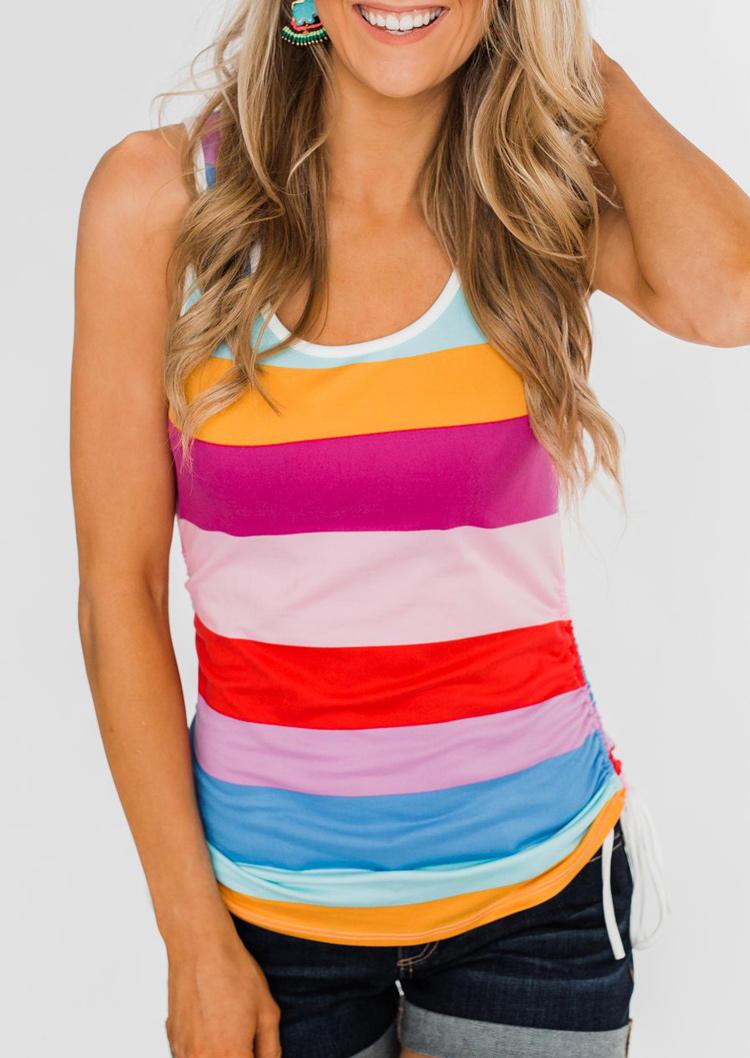 Colorful Striped Color Block Drawstring Ruffled Tank, 500709, Fairyseason, Multicolor  - buy with discount