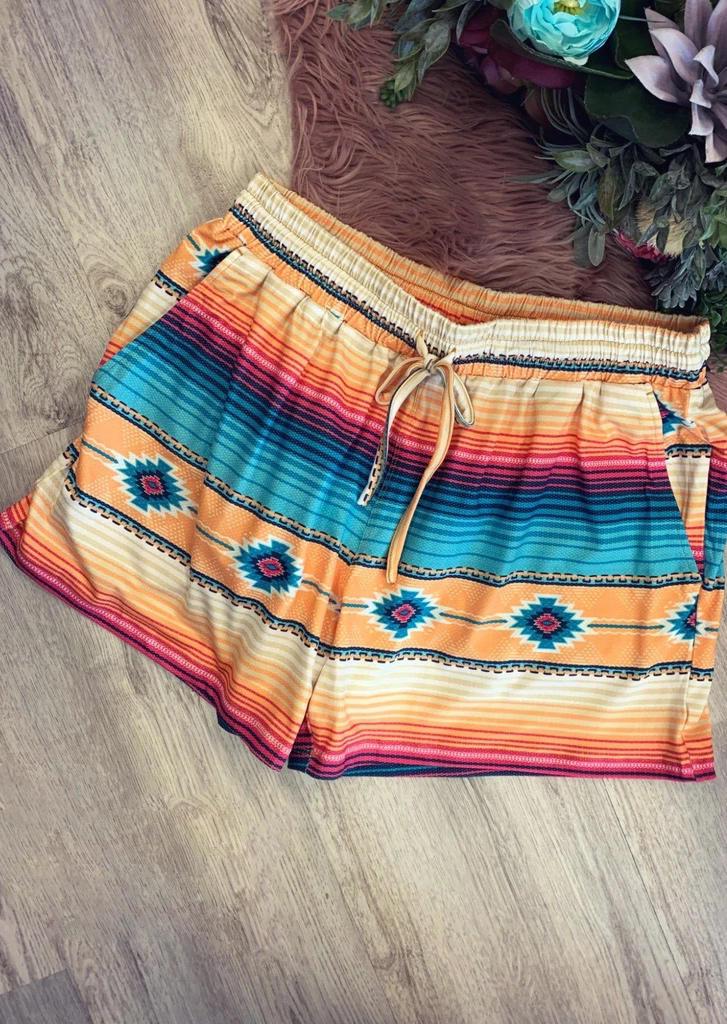 Aztec Geometric Striped Pocket Drawstring Shorts