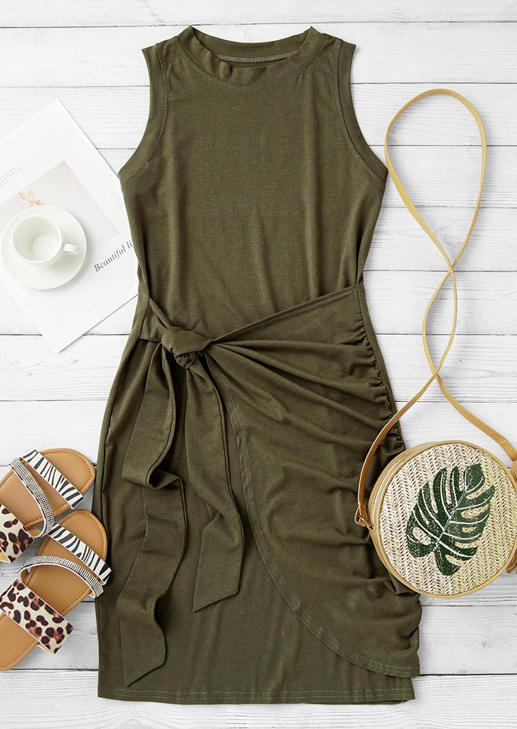 Ruffled Tie Sleeveless O-Neck Mini Dress - Army Green