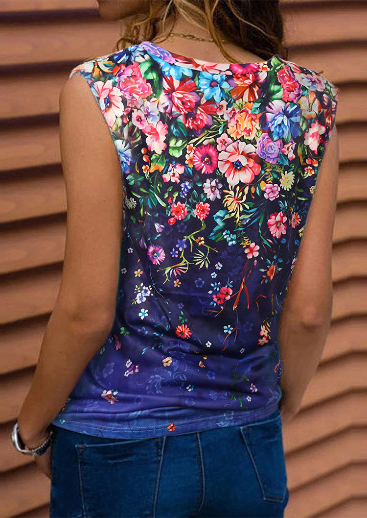 Tank Tops Floral V-Neck Casual Tank Top in Blue. Size: L,XL