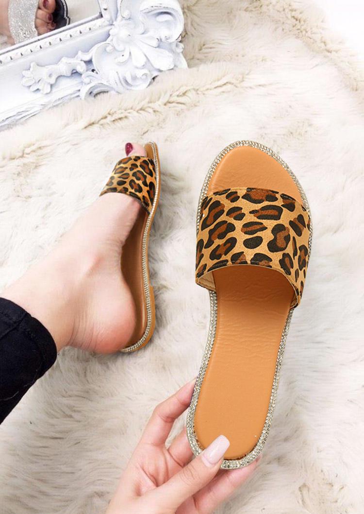 Leopard Glitter Rhinestone Open Toe Slip On Slippers, 500940, Fairyseason  - buy with discount