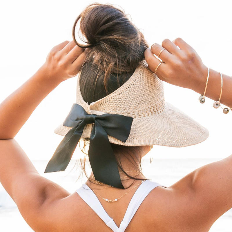 Foldable Hollow Out Sun Visor Straw Wide Brim Beach Hat