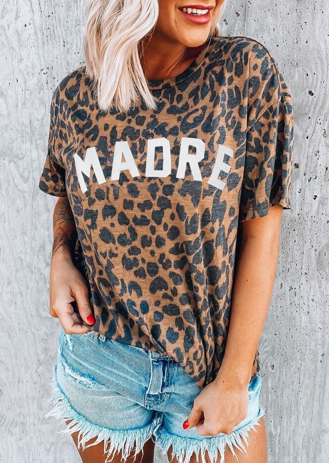 Leopard Madre O-Neck T-Shirt Tee - Gray