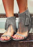 Bohemian Tassel Zipper Flat Sandals - Gray